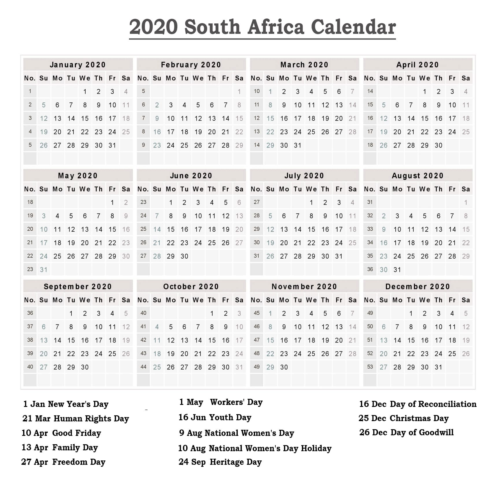 Calendar 2020 Templates With South Africa Holidays