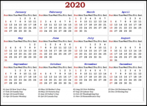 Printable Calendar 2020 with Canada Holidays