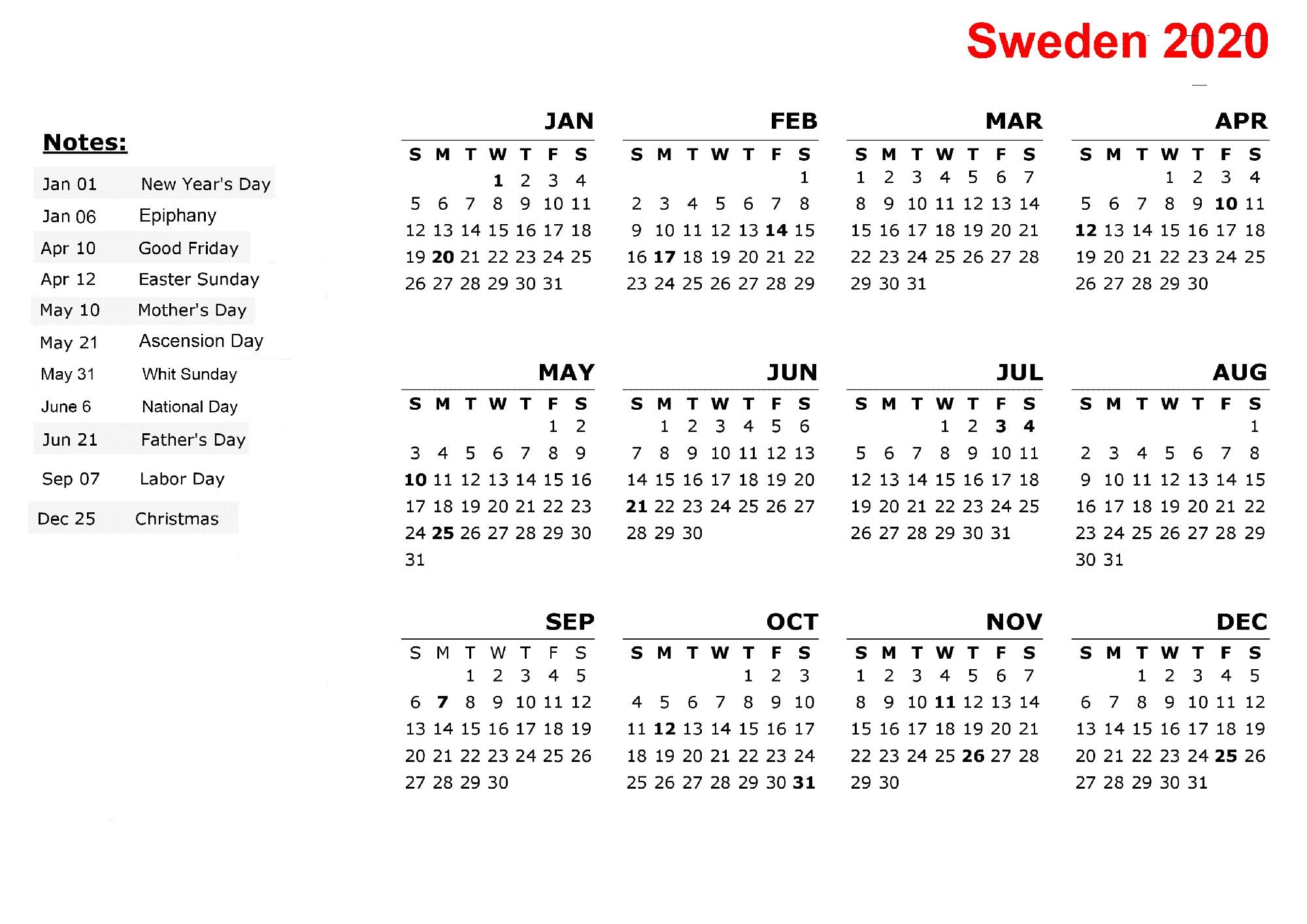 Printable Calendar 2020 with Sweden Holidays