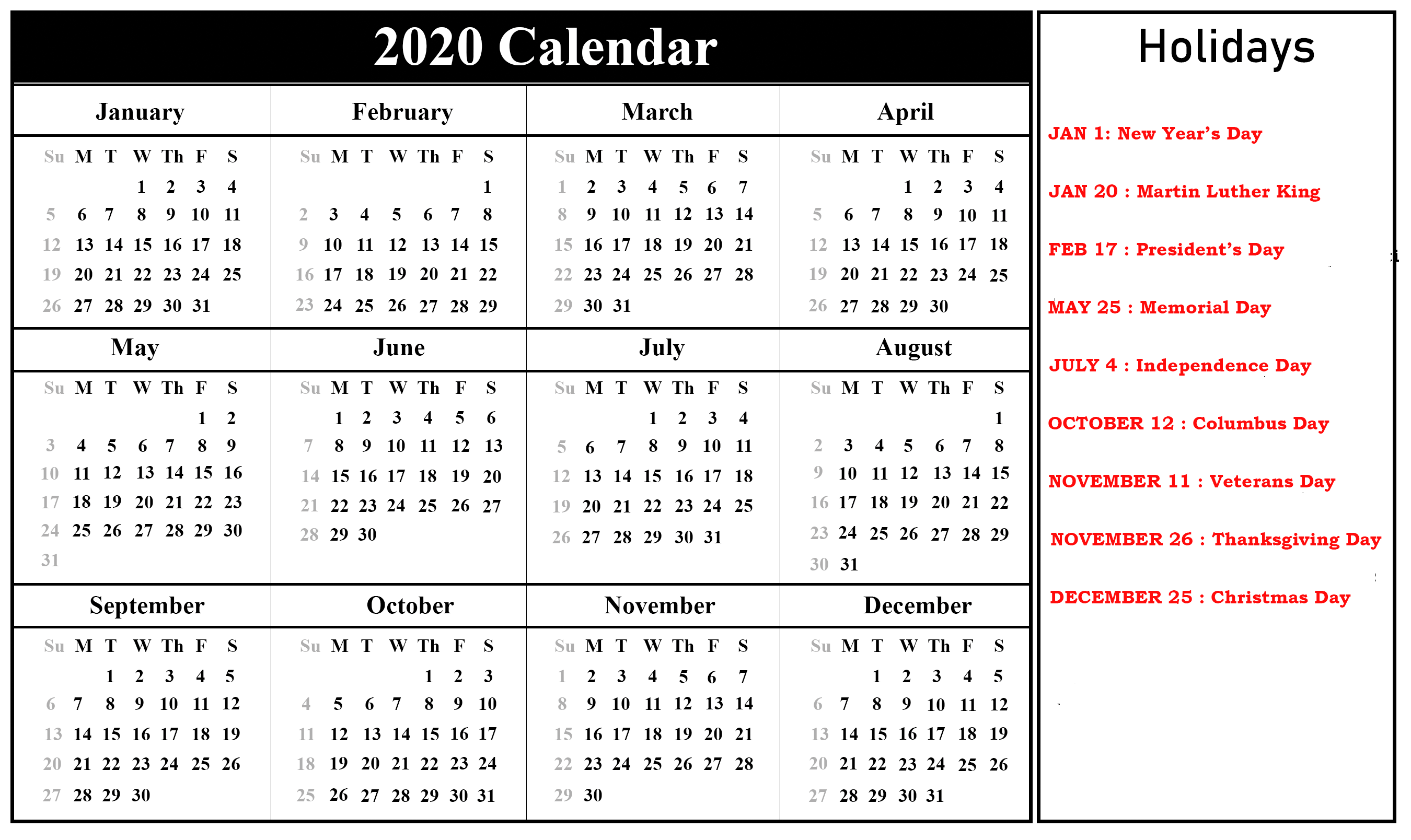 Printable Calendar 2020 with USA Holidays
