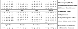 2020 Calendar With Indian Holidays