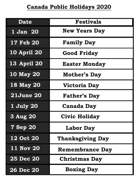 List Of Holidays 2020.Free Printable Canada 2020 Calendar Template Pdf Excel Word