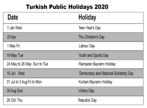 Public Holidays in Turkey 2020