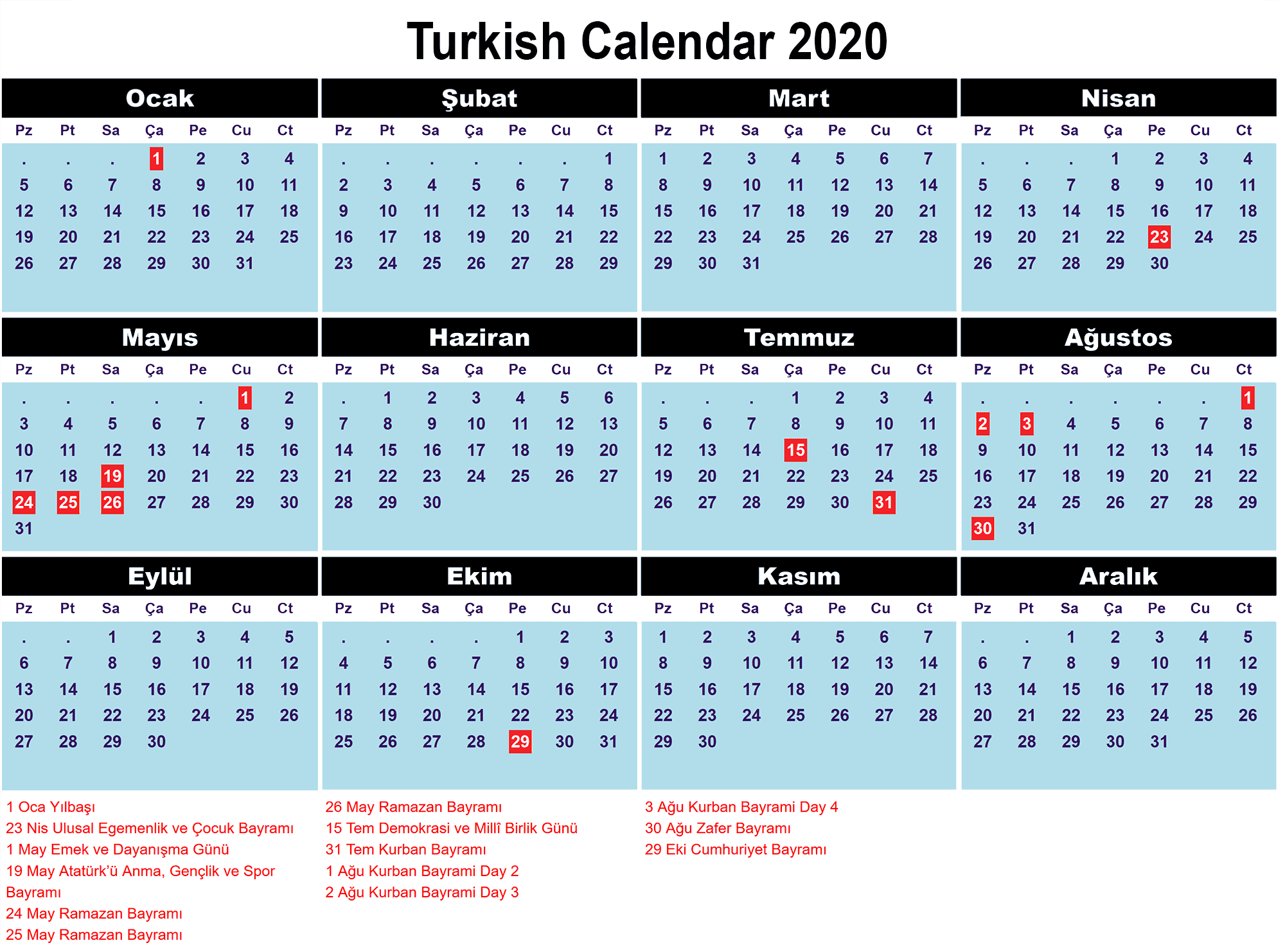 Printable Calendar 2020 with Turkish Holidays