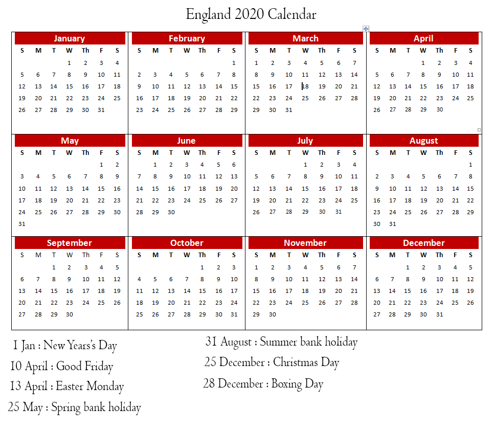 Calendar 2020 Templates With England Holidays