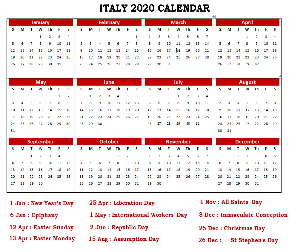 Calendar 2020 Templates With Italy Holidays
