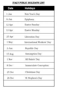 Public Holidays in Italy 2020