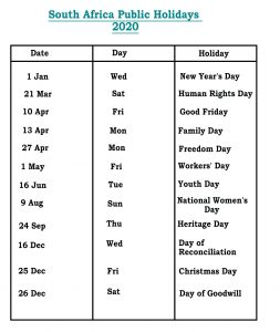 Public Holidays in SA 2020
