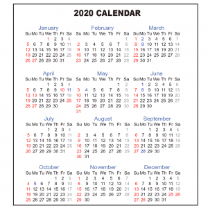 One Page Yearly Calendar