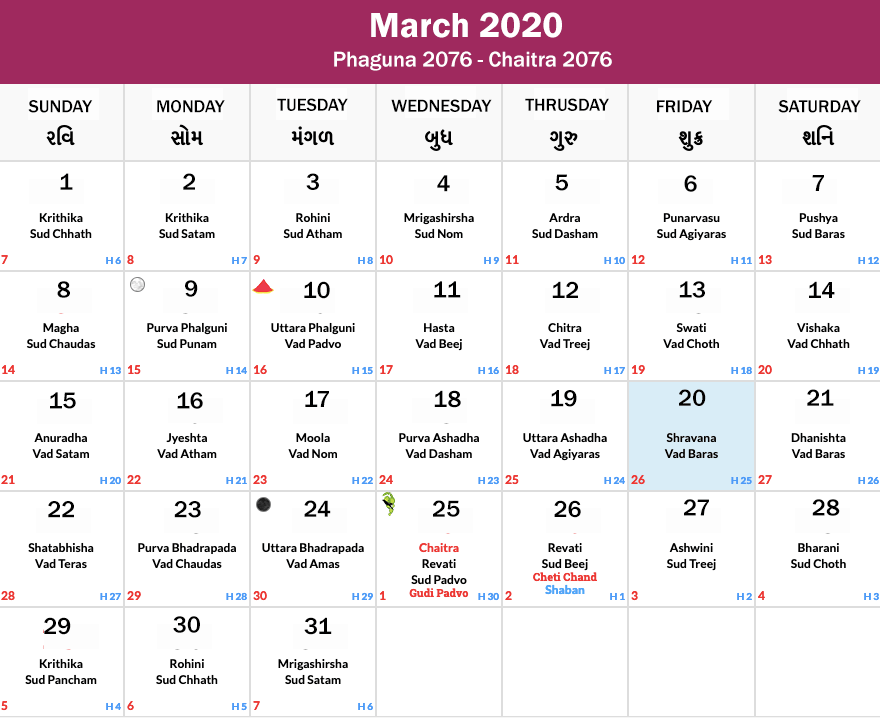 Hindu Calendar March 2020