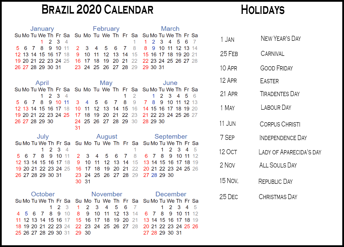 Calendar 2020 Templates With Brazil Holidays