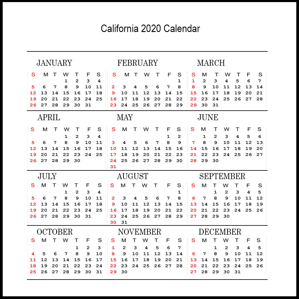 Printable California Calendar 2020