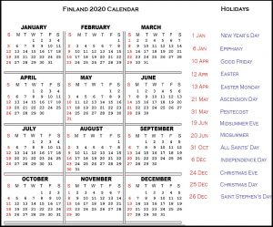 Calendar 2020 Templates With Finland Holidays