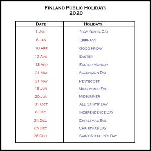 Public Holidays in Finland 2020