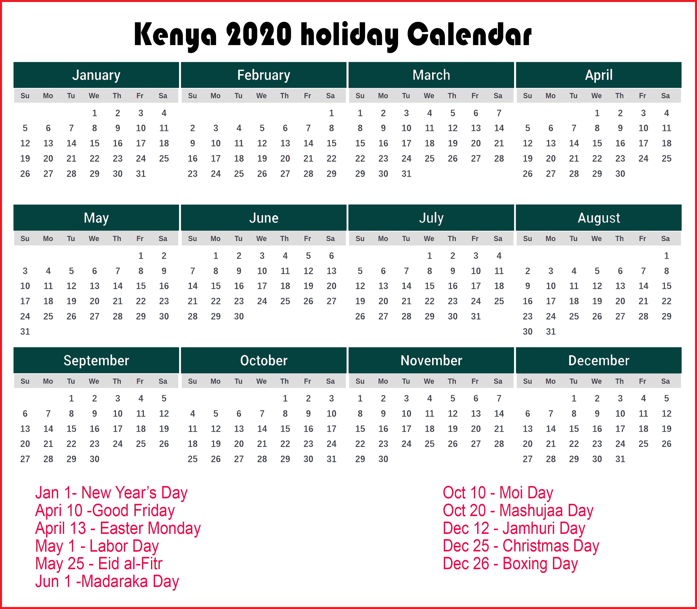 Calendar 2020 Templates With Kenya Holidays