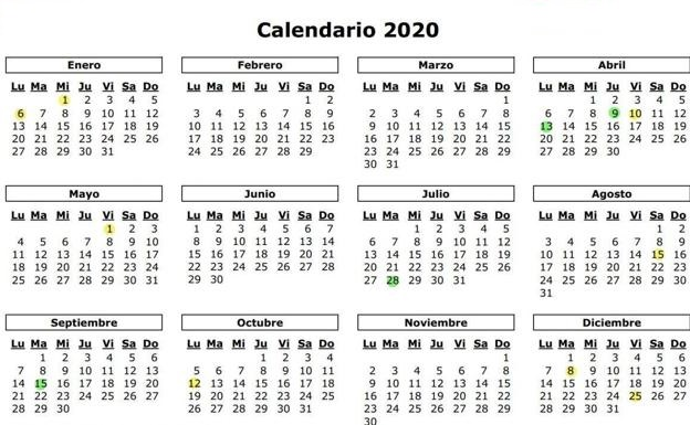 Spanish Public Holidays 2020