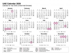 Public Holidays in the UAE 2020
