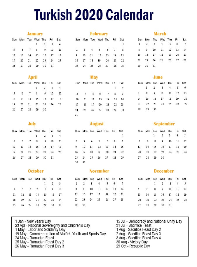 Turkish Calendar 2020