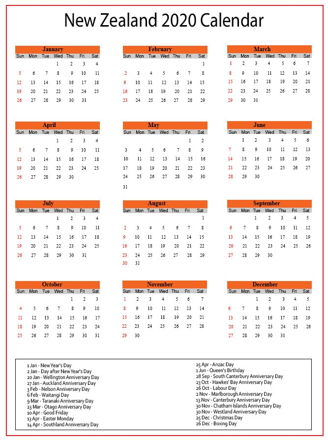 NZ Calendar 2020 with Holidays