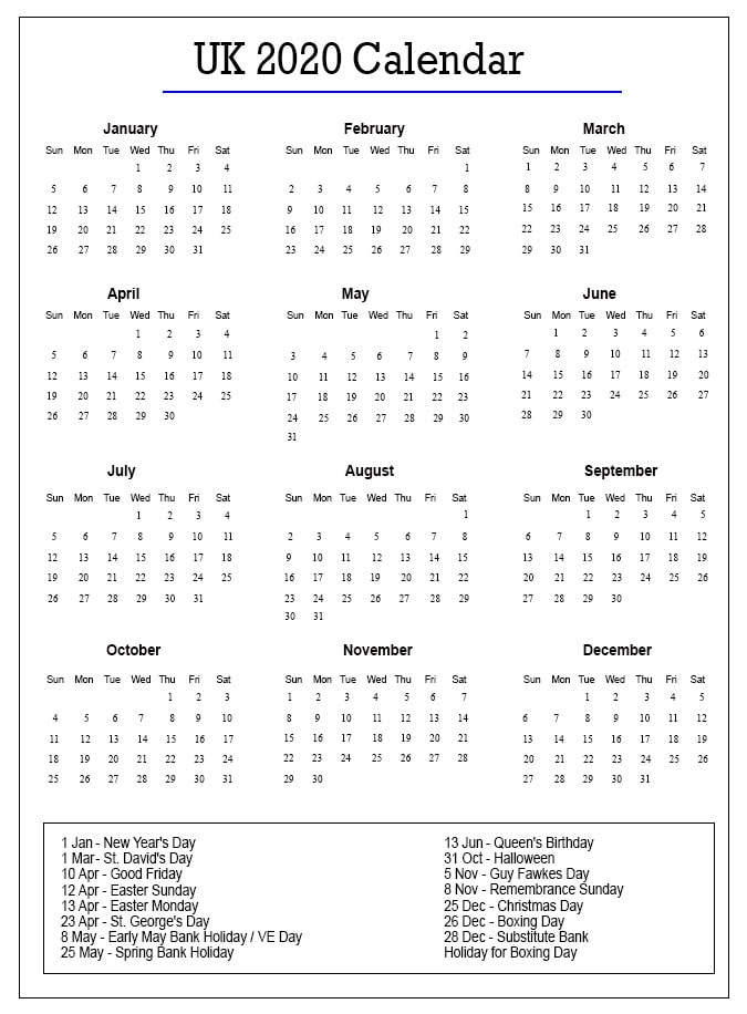 Printable Calendar 2020 with UK Holidays