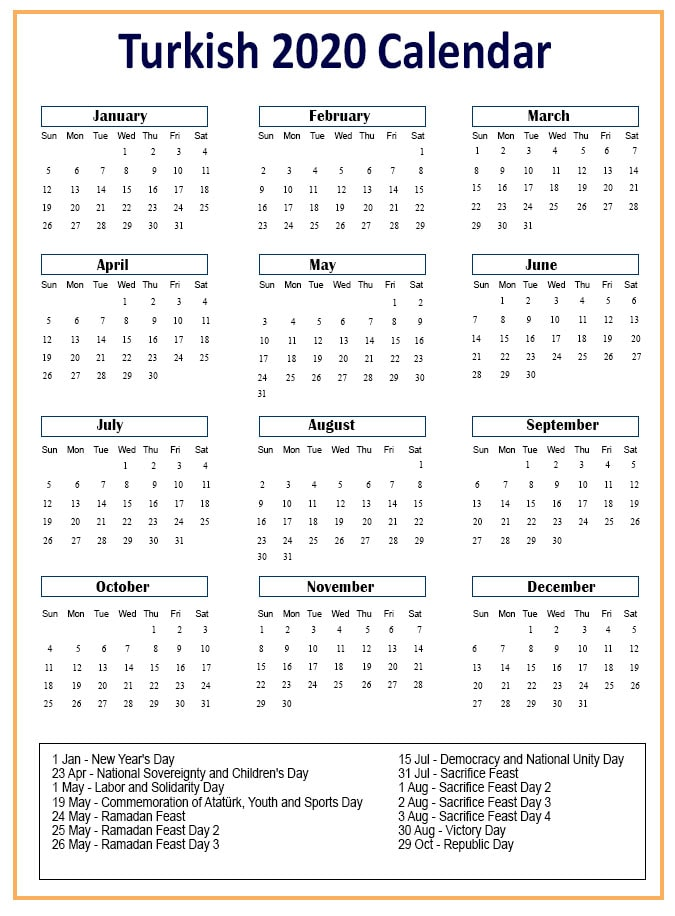 Turkish Calendar with Holidays 2020