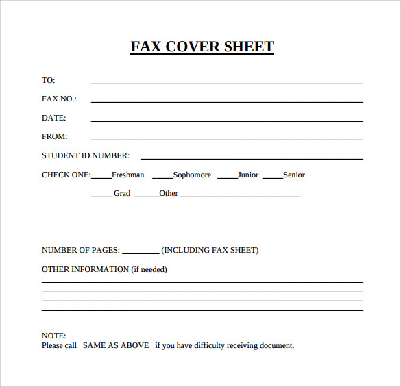 Free Generic Fax Cover Sheet