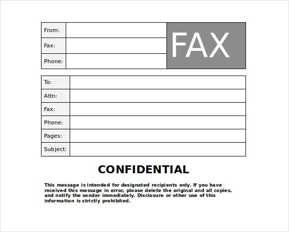 Confidential Fax Cover Sheet Word Doc
