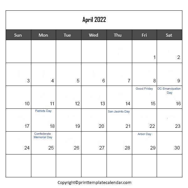 Holidays 2022 in April