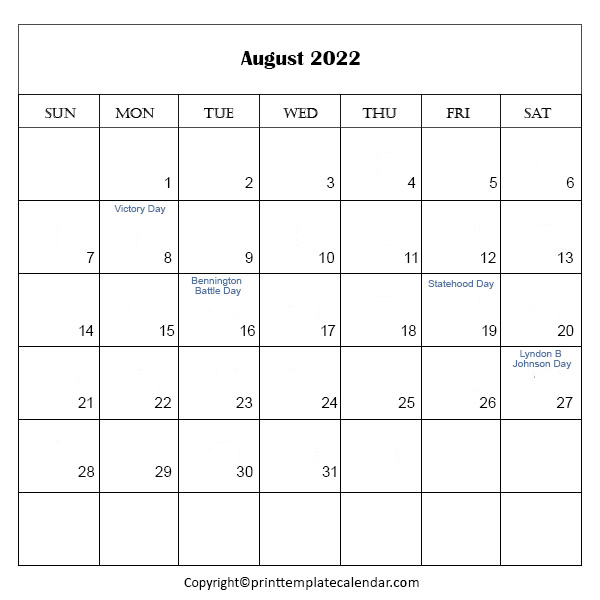 2022 Holidays in August