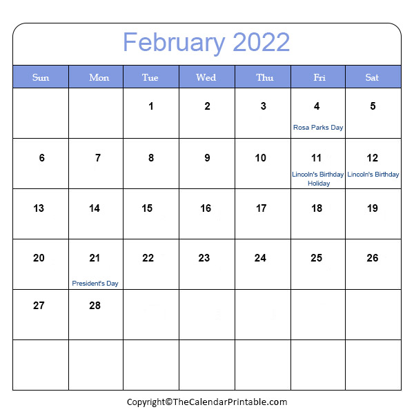 2022 Holidays in February