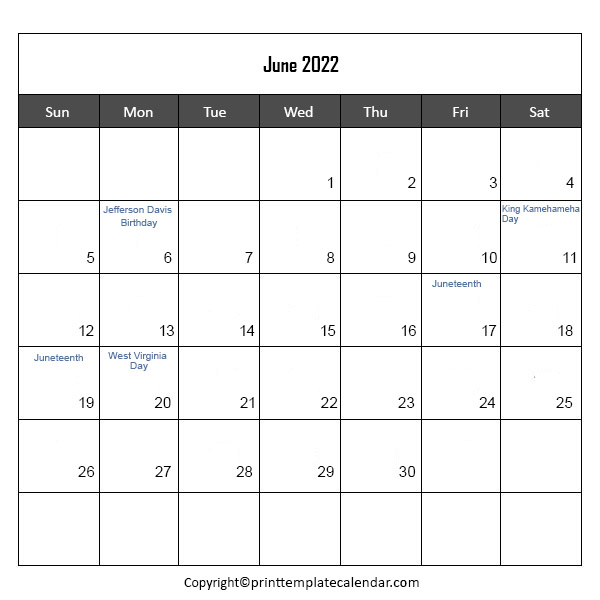 Holidays 2022 in June